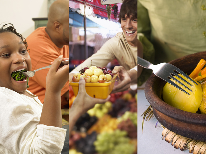Food can promote good health, protect against disease, and incite feelings of joy and satisfaction (left). The food system is an important part of the economy, employing an estimated one in five working Americans (middle).15 Growing, processing, cooking, and sharing food can also be expressions of culture (right).